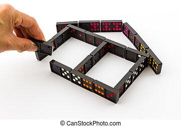 Dominoes in House Shape. - Dominoes in House Shape on White...
