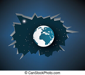 Cracked earth abstract background, vector illustration