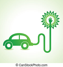 Electric car with green tree