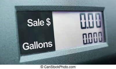 Filling up car gas tank with fuel at station.