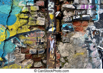 Grunge brick wall. Messy old urban background.