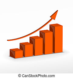 3D Growth bar graph. Vector business concept.