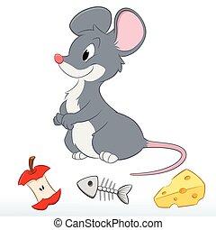 Cute Cartoon Mouse - Vector illustration of a cute cartoon...