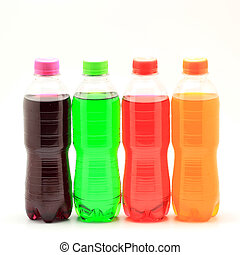 soft drink - colorful of soft drink bottles isolated on a...