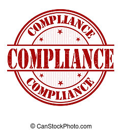 Compliance stamp - Compliance grunge rubber stamp on white,...