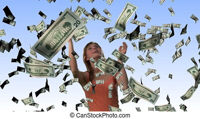 Concept of a Woman Winning the lotto - High Definition...