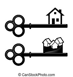 keys - set of two simplified sings with key and house