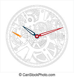 a mechanical watch and clock - Vector illustration of a...