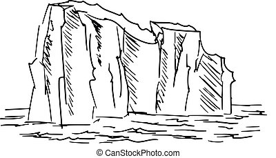 iceberg - hand drawn, cartoon, sketch illustration of...