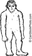 bigfoot - hand drawn, sketch, cartoon illustration of...