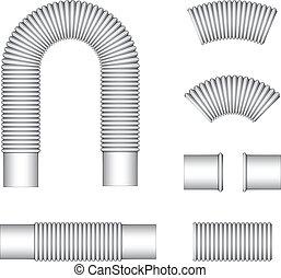 vetorial, encanamento, ondulado, flexível, tubos