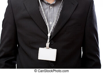 Businessman with empty id card on his neck