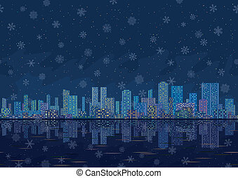 Night city landscape with snowflakes, seamless - Urban...