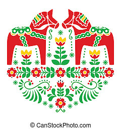 Swedish Dala horse pattern - Traditional Scandinavian...