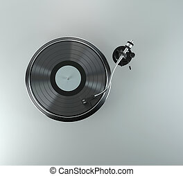 record player with vinyl record - Turntable - dj's vinyl...