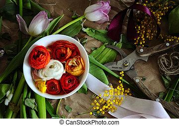 Tienda, flor, pajarito, arreglo
