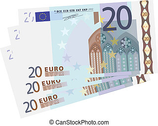 Vector drawing of a 3x 20 Euro bills