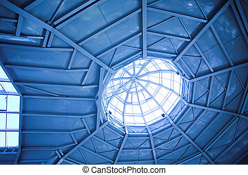 ceiling inside modern office - Blue ceiling inside modern...