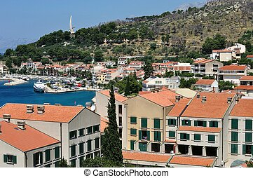 Birdview of Podgora, Croatia - Birdview of Podgora with port...
