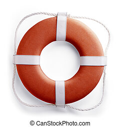 Life buoy - Red safe guard ring against white background...