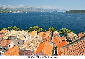 Town Korcula in Croatia - Town Korcula in island Korcula in...