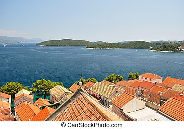 Birdview of town Korcula, Croatia - Town Korcula in island...