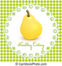 Healthy eating illustration with one pear on vichy fabric...
