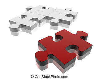 Missing Piece - Red jigsaw piece on silver puzzle. Concept:...