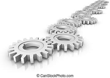 Cogwheels - 3D render of a cogwheel mechanism. Concept:...