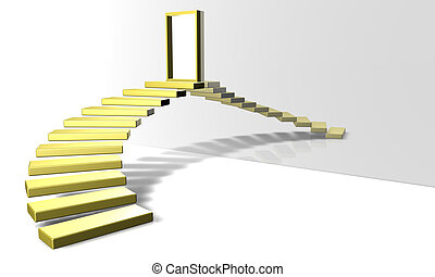 Golden Stairs - 3D Render. Golden Stairway. Conceptual...