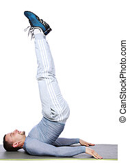 Sportsman exercising workout fitness over white background