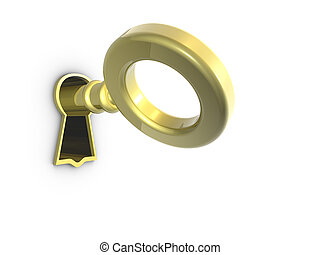 Golden Key - 3D render of a golden key on keyhole.