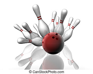 Bowling Strike - 3D render of a bowling strike with shadows...