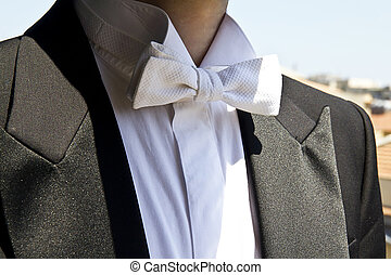 Papillon white, detail of frac, elegant mens wedding dress