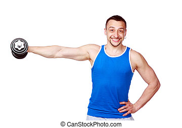 Smiling man working out with dumbbells on white background
