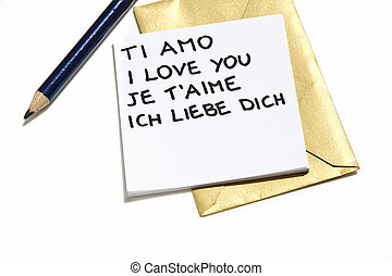 "I love you - The phrase ""I love you"" written in five..."