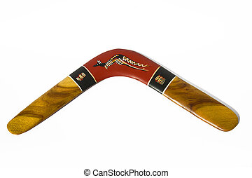 Wooden boomerang pattern decorated with kangaroo on a white...
