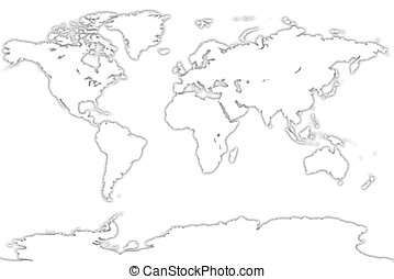 White map of the world over a white background. Very High...