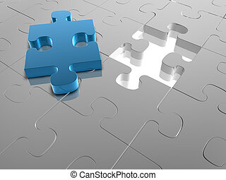 Missing Piece - 3D render of a Jigsaw Puzzle with a missing...