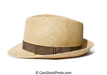 Summer straw hat isolated on white background - Summer...