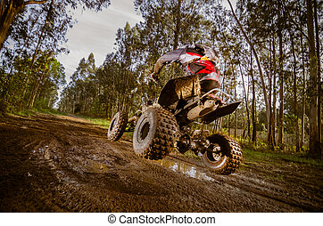 Quad rider jumping on a muddy forest trail