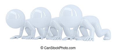 3D people at starting line. Isolated. Contains clipping path
