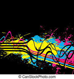 Squiggle Lines Splatter - Abstract layout with wavy lines in...
