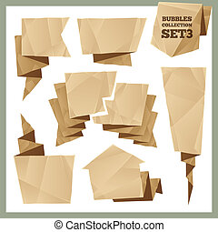 Crumpled Paper Speech Bubbles Collection Set3 In the EPS...