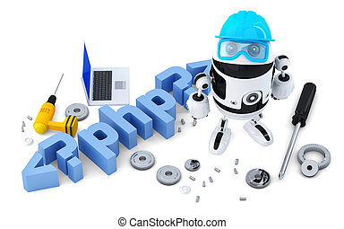 Robot with PHP sign. Technology concept. Isolated on white...