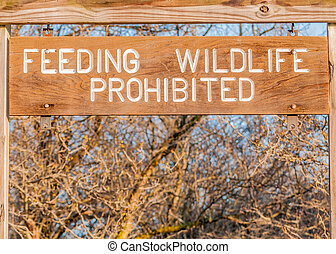 Feeding Wildlife Prohibited sign posted in a park