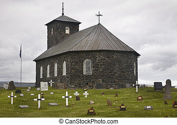 Iceland. Pingeyrar church and cemetery. Hop lake. Blonduos