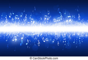 Music Notes Blue Background - abstract music notes on dark...