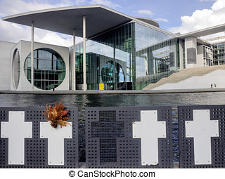 River Spree and and fugitive memorial front of the german...