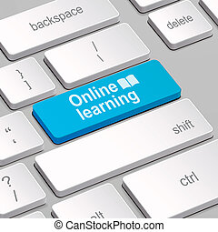 online Learning concept with computer keyboard - message on...